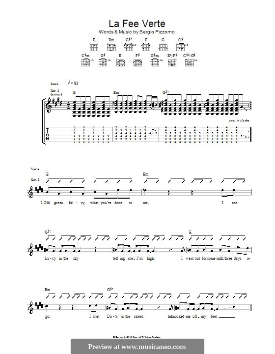 Le Fee Verte (Kasabian): For guitar with tab by Sergio Pizzorno
