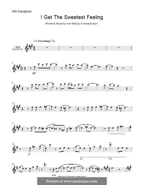 I Get the Sweetest Feeling (Jackie Wilson): For alto saxophone by Alicia Evelyn, Van McCoy