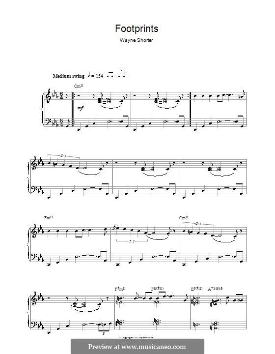 Footprints: For piano by Wayne Shorter