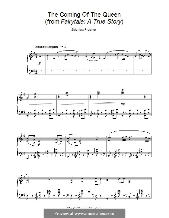 The Coming of the Queen (from the film Fairytale: A True Story): For piano by Zbigniew Preisner