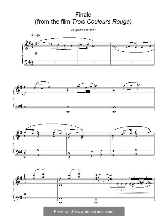 Finale (from the film Trois Couleurs Rouge): For piano by Zbigniew Preisner