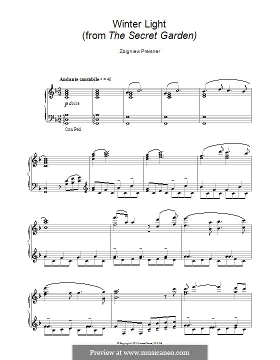 Winter Light (from the film The Secret Garden): For piano by Zbigniew Preisner