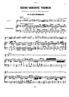 Six Themes and Variations, Op.105: For flute (or violin) and piano by Ludwig van Beethoven