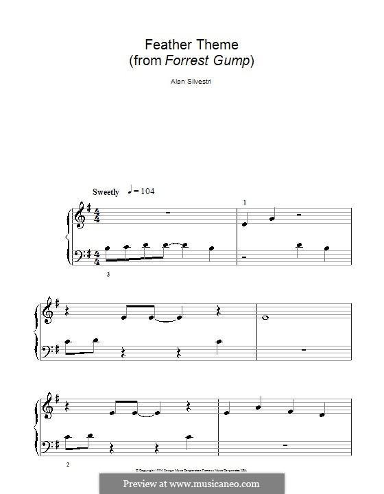 Forrest Gump Suite (Theme): For easy piano (with fingering) by Alan Silvestri