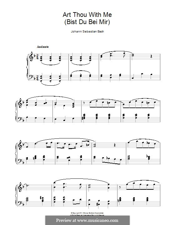 No.25 Bist du bei mir (You Are with Me), Printable scores: For piano (F Major) by Johann Sebastian Bach