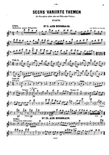Six Themes and Variations, Op.105: Flute part by Ludwig van Beethoven