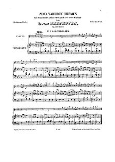 Ten Themes with Variations for Flute (or Violin) and Piano, Op.107: Book I by Ludwig van Beethoven