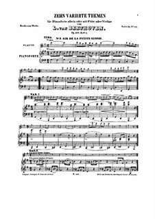 Ten Themes with Variations for Flute (or Violin) and Piano, Op.107: Book II by Ludwig van Beethoven