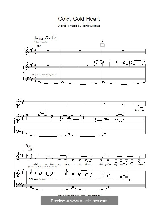 Cold, Cold Heart: For voice and piano (or guitar) by Hank Williams