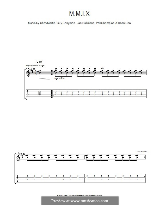 M.M.I.X. (Coldplay): For guitar with tab by Brian Eno, Chris Martin, Guy Berryman, Jonny Buckland, Will Champion