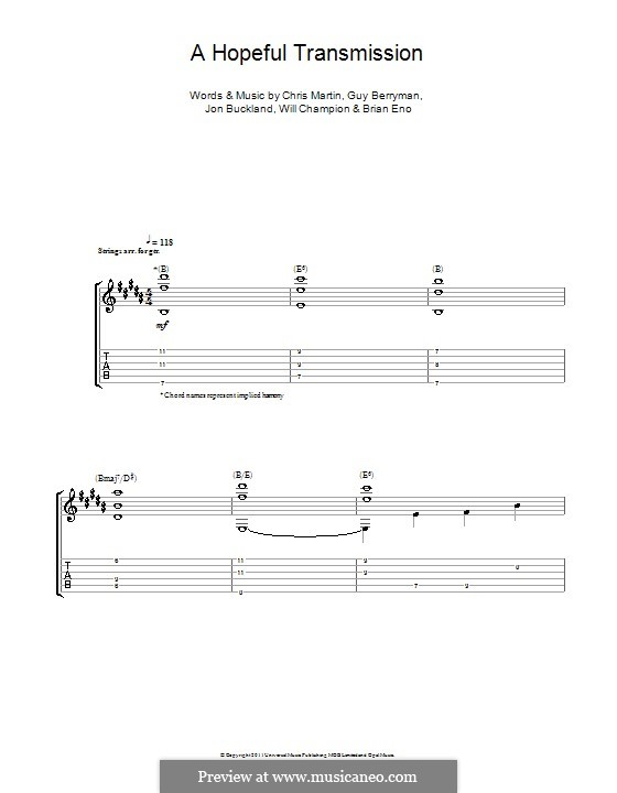 A Hopeful Transmission (Coldplay): For guitar with tabulature by Brian Eno, Chris Martin, Guy Berryman, Jonny Buckland, Will Champion
