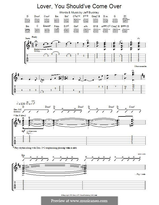 Lover, You Should've Come Over: For guitar with tab by Jamie Cullum, Jeff Buckley