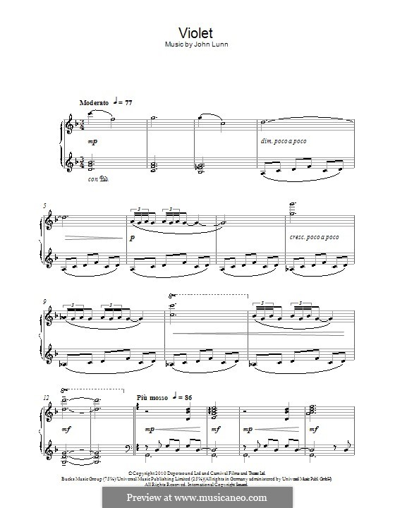 Violet: For piano by John Lunn