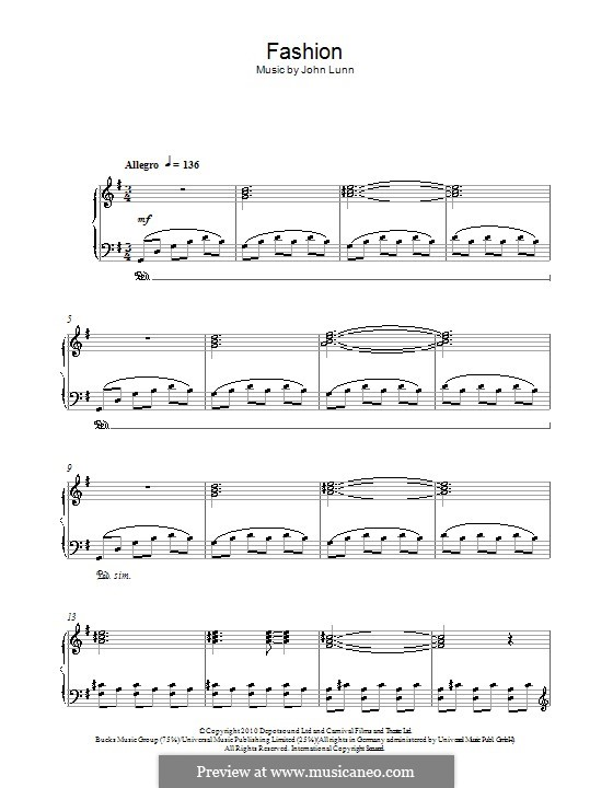 Fashion: For piano by John Lunn