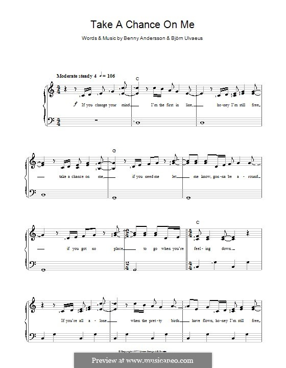 Take a Chance on Me (ABBA): For voice and piano by Benny Andersson, Björn Ulvaeus