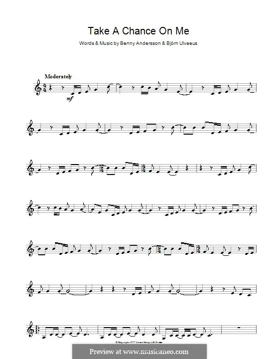 Take a Chance on Me (ABBA): For clarinet by Benny Andersson, Björn Ulvaeus