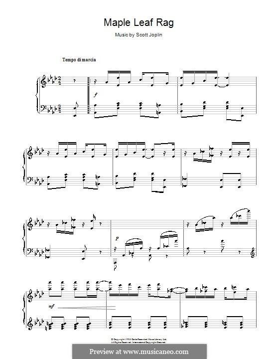 Maple Leaf Rag: For piano by Scott Joplin