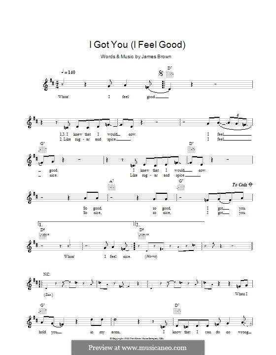 I Got You (I Feel Good): Melody line, lyrics and chords by James Brown