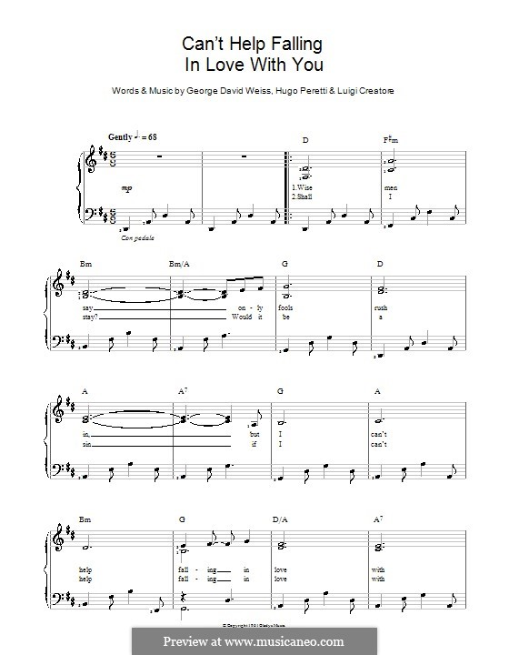 Can't Help Falling in Love: For voice and piano (Elvis Presley) by George David Weiss, Hugo Peretti, Luigi Creatore