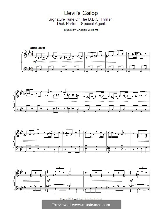 Devil's Galop (Theme to Dick Barton): For piano by Charles Lee Williams