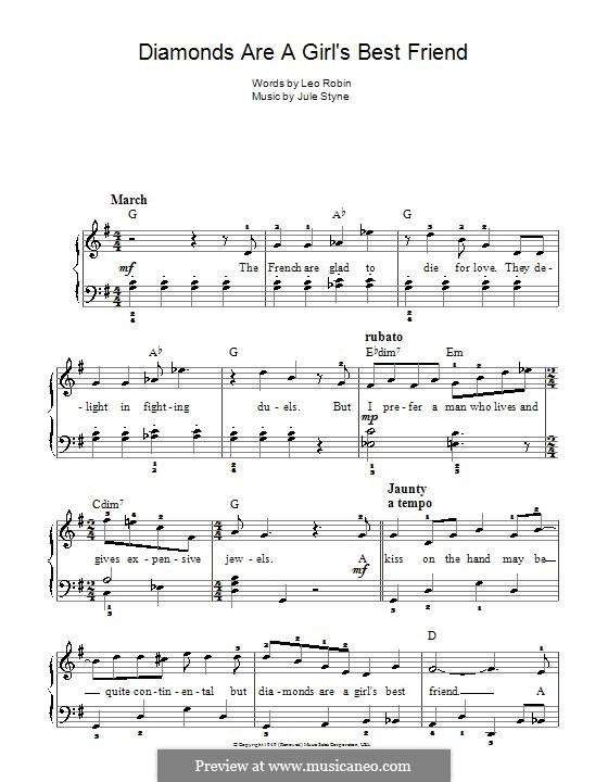 Diamonds are a Girl's Best Friend (Marilyn Monroe): For easy piano by Jule Styne