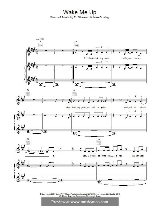 Wake Me Up By E Sheeran J Gosling Sheet Music On Musicaneo