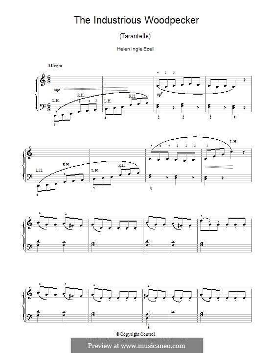 The Industrious Woodpecker (Tarantelle): For piano by Helen Ingle Ezell