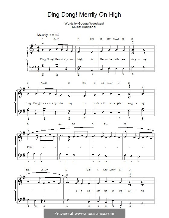 Ding Dong! Merrily on High (Printable Scores): For piano (with chords) by folklore