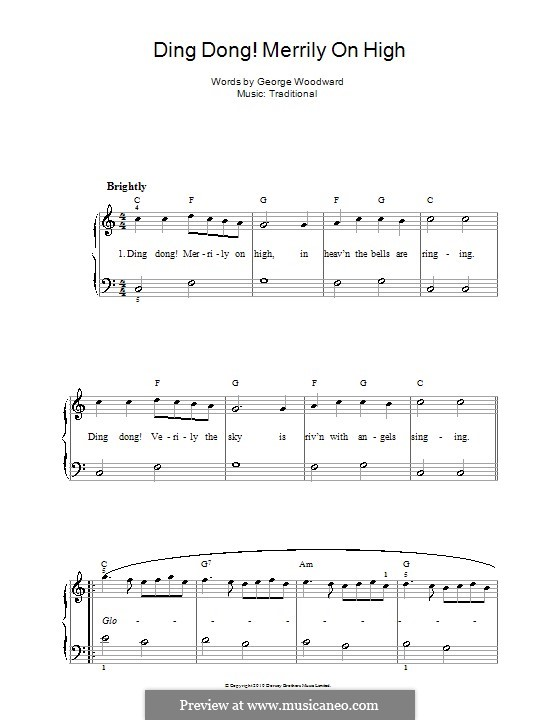 Ding Dong! Merrily on High (Printable Scores): For voice and piano by folklore