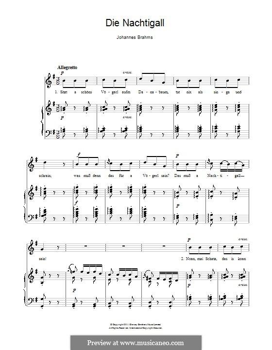 Children's Folk Songs, WoO 31: No.2 The Nightingale by Johannes Brahms