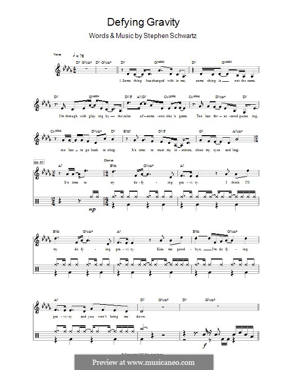 Defying Gravity (from the Broadway Musical Wicked): For drums by Stephen Schwartz