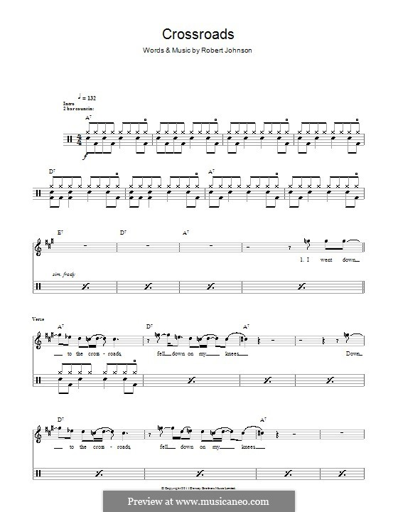Cross Road Blues (Crossroads): For drums by Robert Leroy Johnson