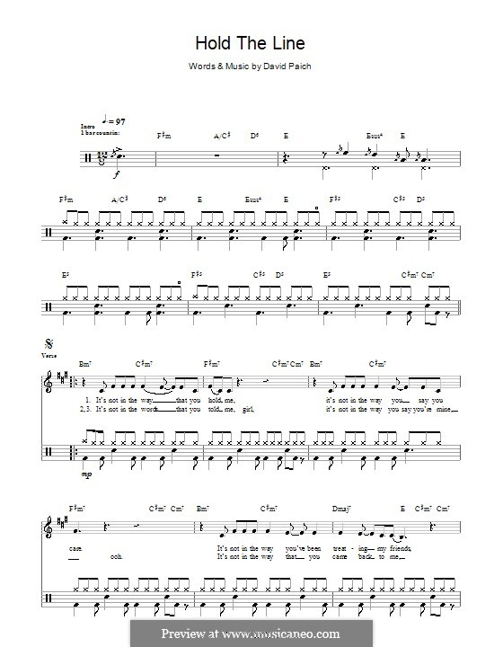 Hold The Line Toto By D Paich Sheet Music On Musicaneo