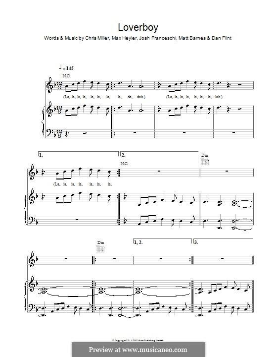 Loverboy (You Me at Six): For voice and piano (or guitar) by Chris Miller, Dan Flint, Josh Franceschi, Matt Barnes, Max Heyler