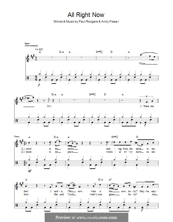 graphic about Free Printable Drum Sheet Music referred to as For drums