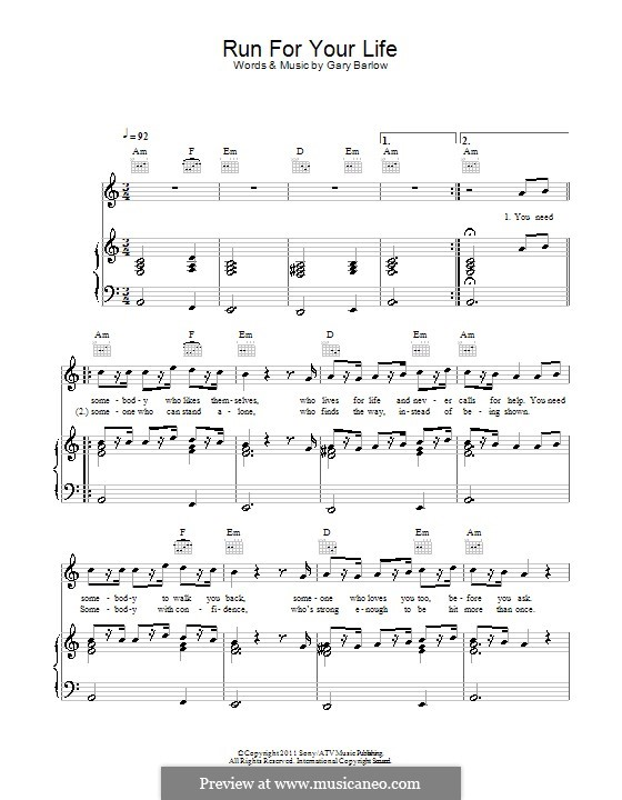 Run For Your Life: For voice and piano (or guitar) by Gary Barlow