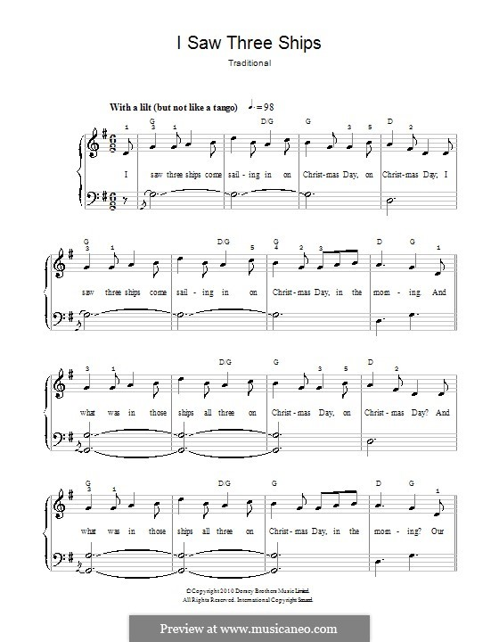 I Saw Three Ships: For easy piano (with fingering) by folklore