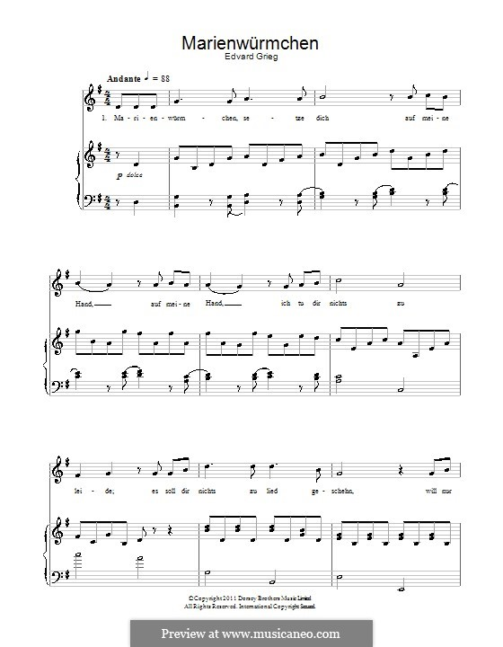 Marienwürmchen: Für Stimme und Klavier by Edvard Grieg