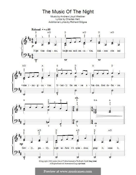 The Music of the Night: For easy piano (D Major) by Andrew Lloyd Webber