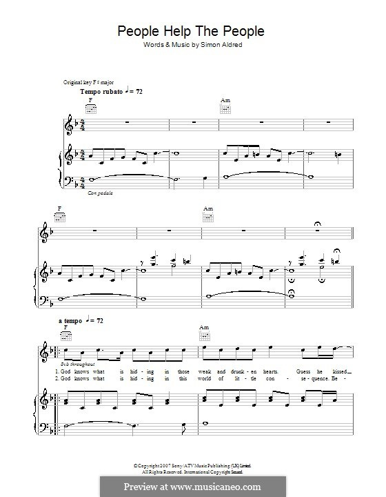 People Help the People: For voice and piano or guitar (Birdy) by Simon Aldred