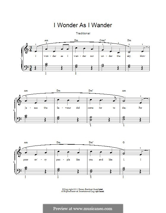 I Wonder as I Wander: For voice and piano by John Jacob Niles