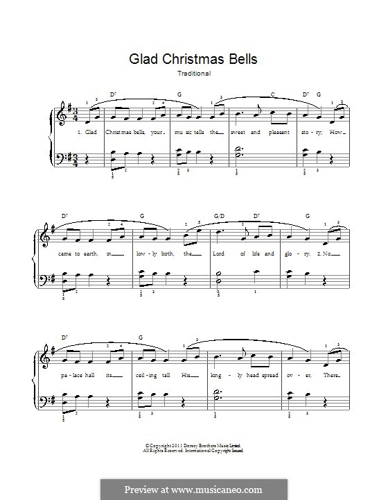 Glad Christmas Bells: For voice and piano by folklore