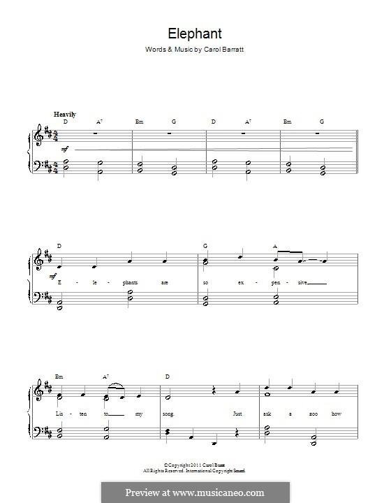 Elephant: For voice and piano by Carol Barratt