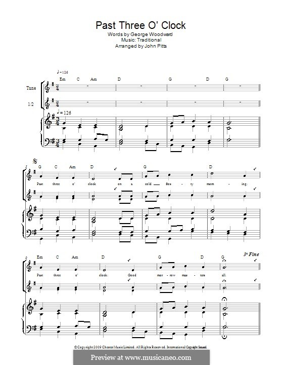 Past Three O'Clock: For recorder (trio) by George Ratcliffe Woodward