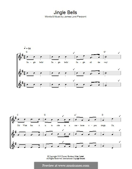 Jingle Bells (Printable scores): For recorder by James Lord Pierpont