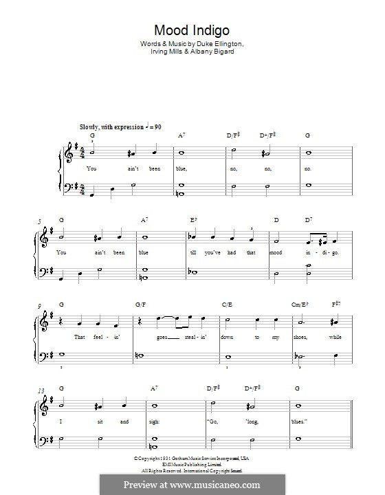 Mood Indigo: For easy piano by Irving Mills, Albany Bigard, Duke Ellington