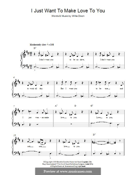 I Just Want to Make Love to You: For easy piano by Willie Dixon