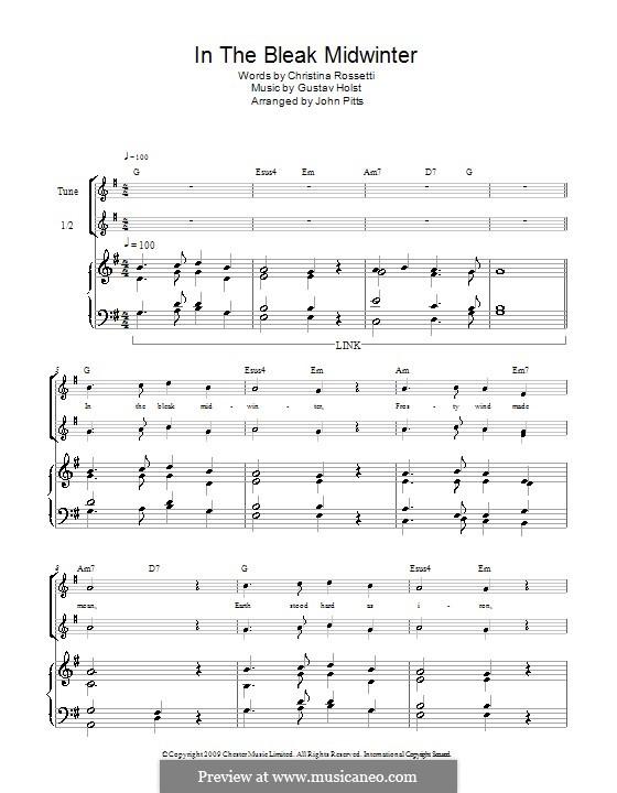 In the Bleak Midwinter: For recorder by Gustav Holst