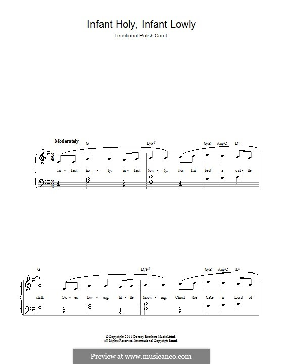Infant Holy, Infant Lowly: For easy piano by folklore