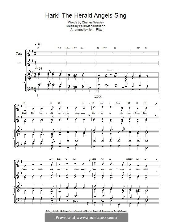 Hark! The Herald Angels Sing, for Solo Instrument: For recorder by Felix Mendelssohn-Bartholdy
